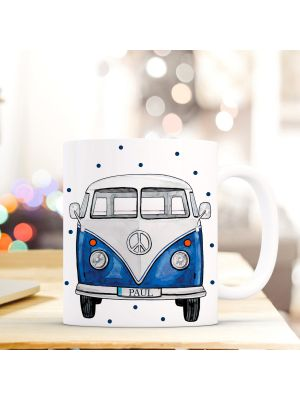 Tasse Bulli blau mit Punkten Kaffeebecher Kaffeetasse mit Wunschnamen Fototasse ts669