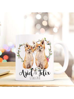 Tasse Füchse Fuchspaar Kaffeebecher Hochzeit Kaffeetasse mit Wunschnamen und Datum ts670