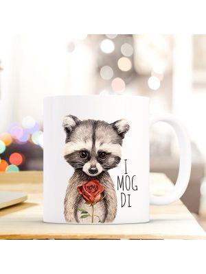 Tasse Becher Waschbär mit Rose Kaffeebecher Kaffeetasse mit Spruch