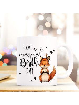Tasse Fuchs mit Sternen Kaffeebecher Kaffeetasse mit Spruch