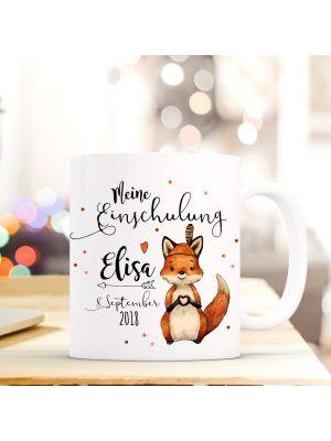 Tasse Fuchs Kaffeetasse mit Spruch, Datum und Namen