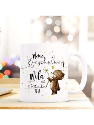 Tasse Bärchen Kaffeetasse mit Spruch, Datum und Namen