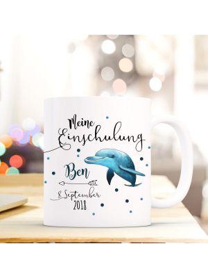Tasse Delfin Kaffeetasse mit Spruch, Datum und Namen