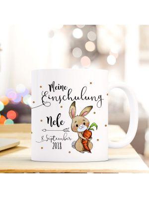 Tasse Hase Kaffeetasse mit Spruch, Datum und Namen