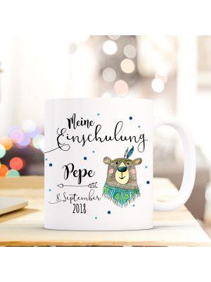 Kaffeetasse Boho Bär Becher mit Spruch, Datum und Namen