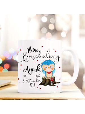 Tasse Eule Kaffeebecher mit Spruch, Datum und Namen