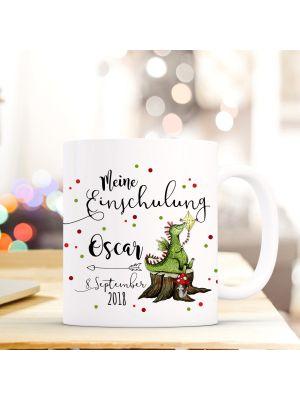 Tasse Drache Kaffeebecher mit Spruch, Datum und Namen