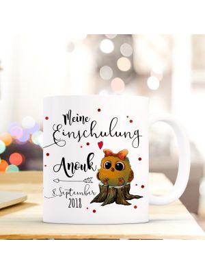 Tasse Eulchen Kaffebecher mit Spruch, Datum und Namen
