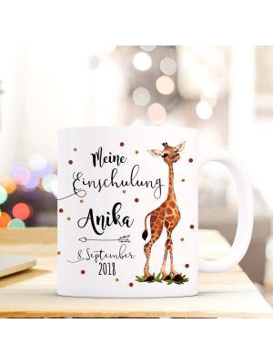 Tasse Giraffe Kaffeebecher mit Spruch, Datum und Namen