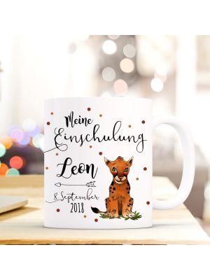 Tasse Tiger Kaffeebecher mit Spruch, Datum und Namen