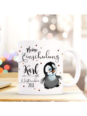 Tasse Pinguin Kaffeebecher mit Spruch, Datum und Namen