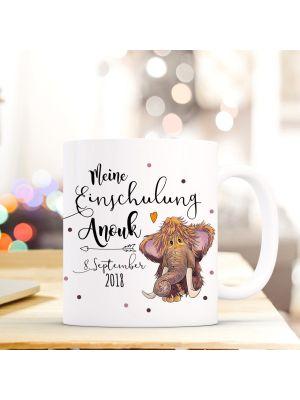 Tasse Mammut Kaffeebecher mit Spruch, Datum und Namen