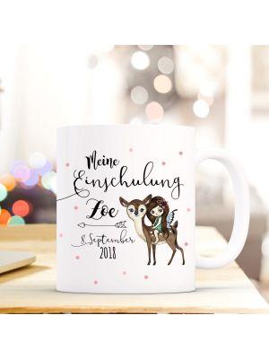Tasse Fee auf Reh Kaffeebecher mit Spruch, Datum und Namen