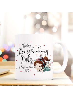 Tasse Fee liegend Kaffeebecher mit Spruch, Datum und Namen