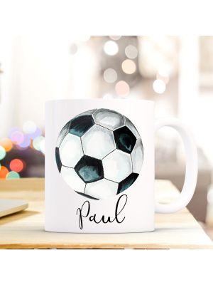 Tasse Teetasse Fußball Kaffeebecher Kaffeetasse mit Wunschnamen Geschenk ts708