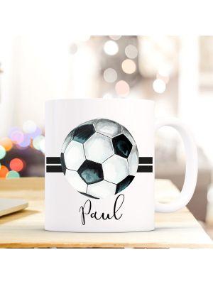 Tasse Fußball Kaffeebecher Kaffeetasse mit 2 Streifen und Wunschnamen Geschenk ts709