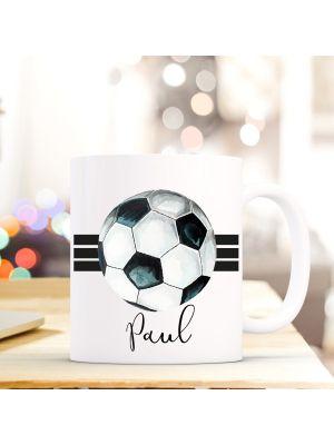 Tasse Fußball Kaffeebecher Kaffeetasse mit 3 Streifen und Wunschnamen Geschenk ts710