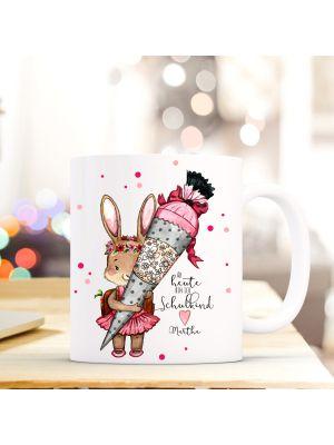 Tasse Hase Zuckertüte Einschulung Kaffeebecher Kaffeetasse mit Spruch