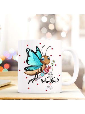 Kaffeebecher Schmetterling rote Punkte Einschulung Kaffeetasse mit Wunschname  ts716
