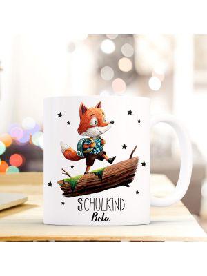 Kaffeebecher Fuchs mit Rucksack Sterne Einschulung Kaffeetasse mit Wunschname ts719