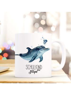 Kaffeebecher Delfin Einschulung Kaffeetasse Schulkind mit Name ts735