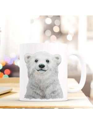 Kaffeebecher Tiertasse Teetasse Kaffeetasse mit Eisbär Motivbecher ts748