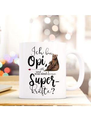 Tasse Becher Bär Ich bin Opa was sind deine Superkräfte Kaffeebecher ts851