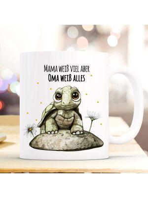 Tasse Becher Schildkröte Spruch Mama weiß viel Oma alles Kaffeebecher Geschenk ts860