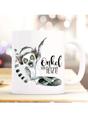 Tasse Becher Lemur Affe Äffchen DJ Spruch Onkel sein fetzt Kaffeebecher Geschenk ts876
