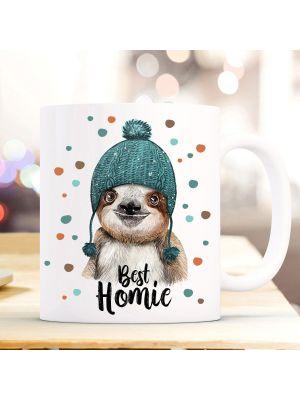 Tasse Faultier Pudelmütze & Spruch best homie Motiv Kaffeebecher Geschenk Weihnachten ts881