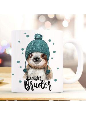 Tasse Becher Faultier Pudelmütze Spruch Liebster Bruder Kaffeebecher Weihnachten ts883