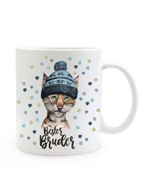 Tasse Luchs Pudelmütze Spruch Bester Bruder Motiv Kaffeebecher Geschenk Weihnachten ts886