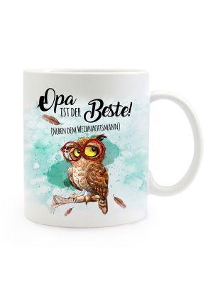Tasse Becher Eule mit Brille & Spruch Bester Opa Kaffeebecher Geschenk Spruchbecher ts891