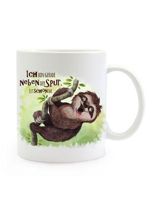Tasse Becher Faultier Spruch Bin neben der Spur Kaffeebecher Geschenk Spruchbecher ts906