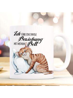Tasse Becher Motiv Katze & Kissen Spruch Beziehung mit Bett Kaffeebecher Geschenk ts913