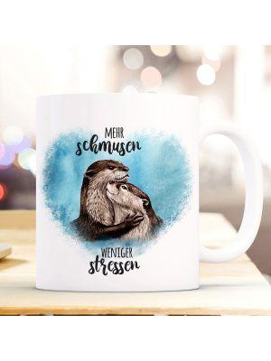 Tasse Becher Otter Pärchen blau Spruch Mehr schmusen weniger stressen Geschenk ts918