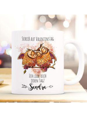 Tasse Becher Eule Pärchen Scheiß auf Valentinstag Geschenk Wunschname ts943