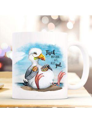 Tasse Becher Kaffeetasse Möwe Vogel Fischbrötchen gut, alles gut ts973