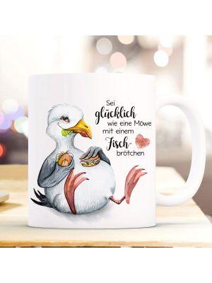 Tasse Becher Kaffeetasse Möwe Vogel Sei glücklich wie eine Möwe Geschenk ts974