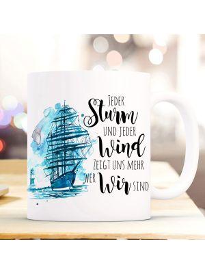 Tasse Becher Kaffeetasse Schiff Segelschiff maritim Sturm und Wind ts975