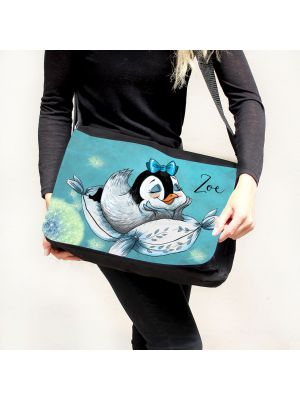 Schultertasche Schultasche Tasche Umhängetasche Mädchen Pinguin Pusteblume & Wunschname tsu54