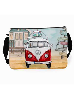 Schultertasche Schultasche Tasche Umhängetasche roter Bulli Bus Surfbretter Wunschname tsu73