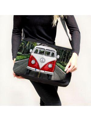 Schultertasche Schultasche Tasche Umhängetasche roter Bulli Bus Front vorne auf Straße tsu74
