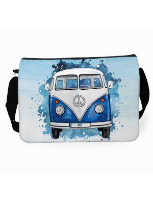 Schultertasche Schultasche Tasche Umhängetasche blauer Bulli Bus Front vorne Wunschname tsu75
