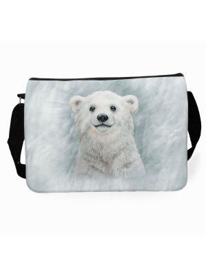 Schultertasche Schultasche Tasche Umhängetasche Eisbär Bär im Schneesturm Wunschname tsu83