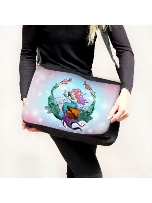 Schultertasche Schultasche Tasche Umhängetasche Meerjungfrau auf Muschel tsu84