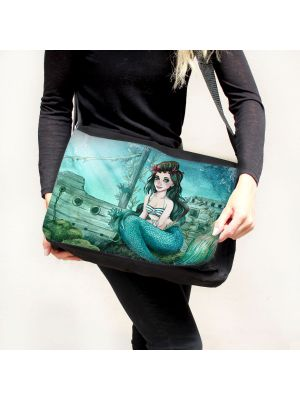 Schultertasche Schultasche Tasche Umhängetasche Meerjungfrau Schiff tsu89