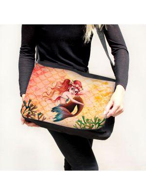 Schultertasche Schultasche Tasche Umhängetasche Meerjungfrau rot gelb tsu91