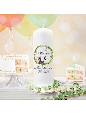 Geburtstagskerze Kerze Reh Waschbär Name Alter wk126 + wahlweise Lichthüllen te126