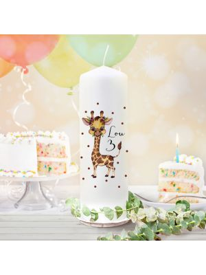 Geburtstagskerze Kerze Geburtstag Giraffe Name Alter wk133 + Lichthüllen-Set te133